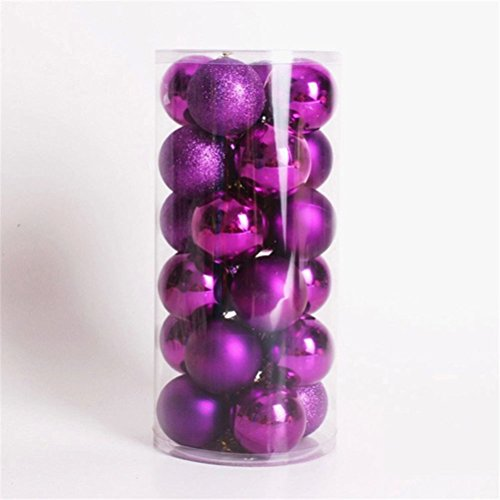 [24 pcs Christmas Balls Ornaments Shatterproof Christmas Tree hanging decoration, 3-finish, 1.57