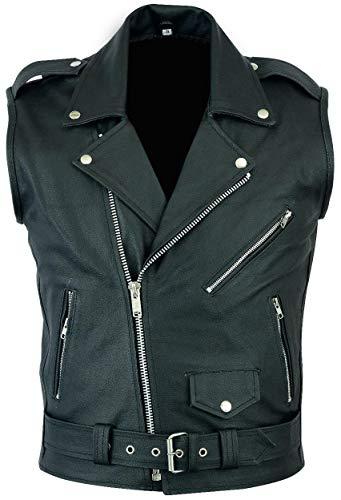 Mens Motorcycle Club Classic Black Genuine Cowhide Leather Biker Vest (M/Body Chest 40