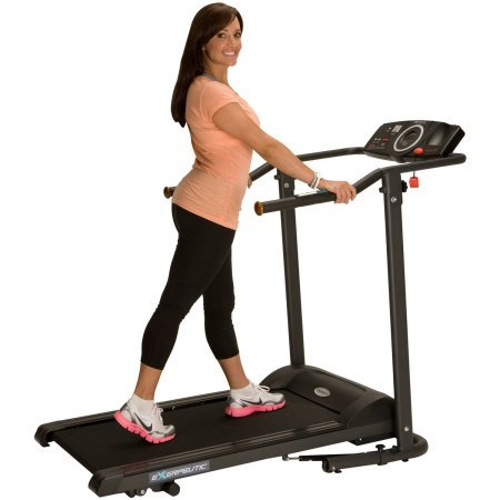 Treadmill Exerpeutic 440XL Features LCD Display Window, Super Heavy Duty Electric Walking Equipment with Wide Belt, Black, Great for Home Workouts