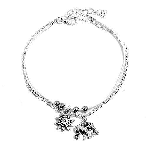 - TOMLEE Handmade Three Layers Alloy Sun Elephant Charm Rope Chain Anklet Bohimian Vintage Adjustable Length Ankle Bracelet