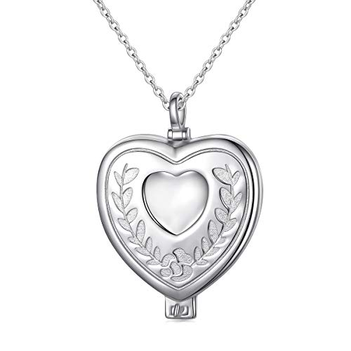 Locket Lovers - S925 Sterling Silver Heart Locket Pendant Necklace for Women Girl Keepsake Hold Photos 18'' Silver Chain