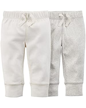 Carter's Baby Boys' 2 Pack Pants (Baby) - White/Grey-24M