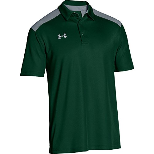 Colorblock Golf Polo - Under Armour Men's Team Armour Colorblock Polo (Large, Forest Green/Steel)