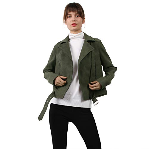 CGTL PU Zipper Coat Outerwear, Ladies Faux Suede Slim Short Punk Fashion Lapel Oblique Pocket Casual Belted Casual Outdoor Party Traveling Biker Coat for Women, Army Green, Small