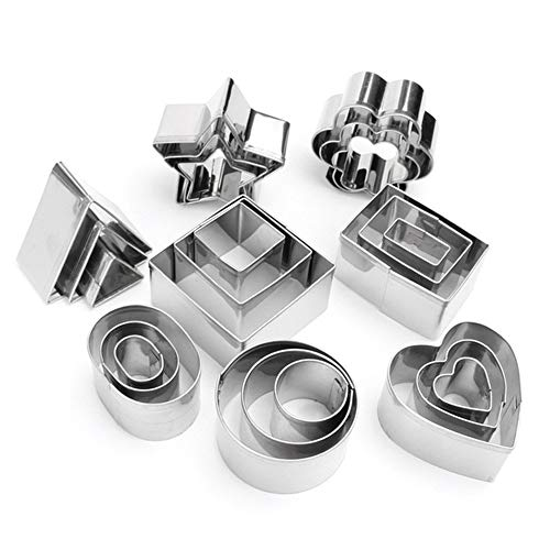(Mini Geometric Shaped Cookie Biscuit Cutter Set 24 Hexagon Square Heart Triangle Round Tiny Circle Baking Stainless Steel Metal Molds)