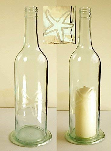 Wine Bottle Candle Etched Starfish Design Recycled Handmade Cafe