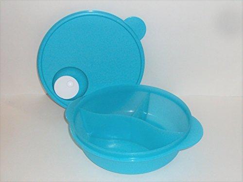 Tupperware CrystalWave Microwave Lunch N Dish Divided Bowl Aqua Blue