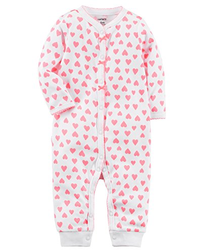 Carters Baby Girls Cotton Snap-Up Footless Sleep & Play (Preemie, Pink hearts) (Girl Baby Coverall)