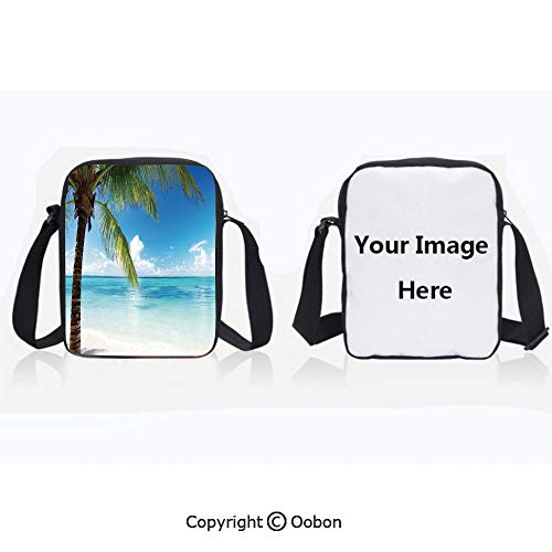 Unisex Adult Polyester Crossbody Bag Waterproof Exotic Beach Water and Palm Tree by the Shore with Clear Sky Landscape Image Decorative Green Blue White Zipper Anti Theft Shoulder Bag For ()