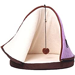 Bonaweite Conical Cat Tent Bed Soft Pet Cave Seasons Universal Keep Warm Deep Sleeping with Hanging Toy Ball Rope Home Machine Washable Indoor Pet Supplies for Cats and Kittens