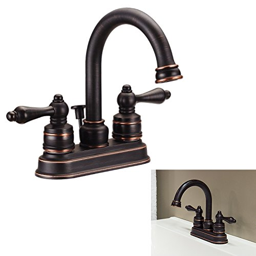 Two Handle High-Arc Bathroom Vanity Lav Faucet Swivel Spout, Oil Rubbed Bronze