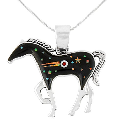 "Horse Pendant 925 Sterling Silver Genuine Turquoise & Gemstones with 20"" Chain (Large Version) (Night Stars)"