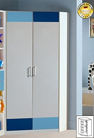 Eckkleiderschrank kinderzimmer  Eckkleiderschrank Eckschrank Kinderzimmer 305511 (305) weiss blau ...