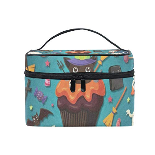 (Makeup Bag Vintage Halloween With Cupcake Cosmetic Bag Portable Large Toiletry Bag for Women/Girls)