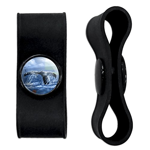 Graphics and More Whale Tail Ocean Headphone Earbud Cord Wrap - Charging Cable Manager - Wire Organizer Set of 2 - Black (Whale Cord Keeper)