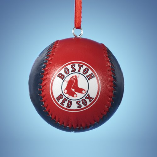 Kurt Adler 56mm Red Sox Leather Baseball Ornament (Red Sox Ornament Christmas)