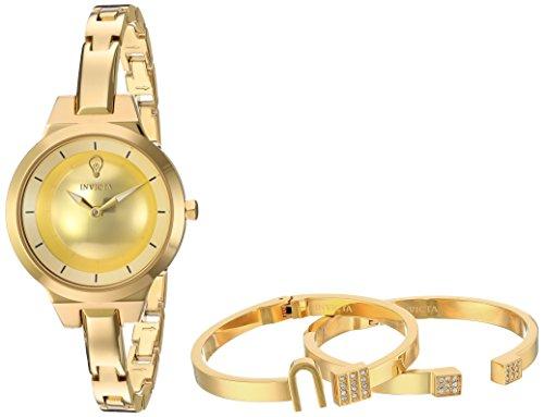 Gold Invicta Bracelets (Invicta Women's Gabrielle Union Quartz Watch with Stainless-Steel Strap, Gold, 6 (Model: 23326))