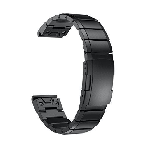 YRD Tech for for Garmin Fenix 5S Plus Luxury Stainless Steel Quick Release Easy Fit Wirstband 20mm (Black, 20mm) by YRD TECH