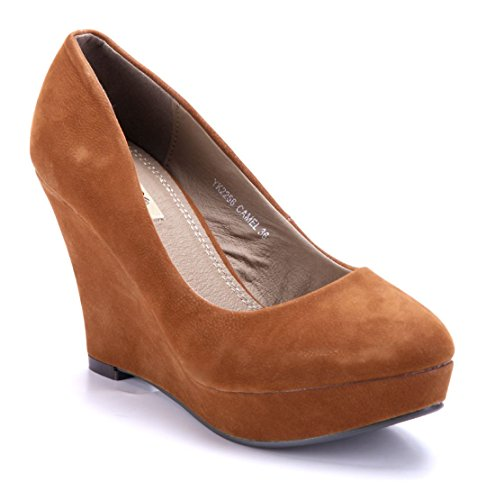 Schuhtempel24 Damen Schuhe Keilpumps Pumps 9 cm Camel