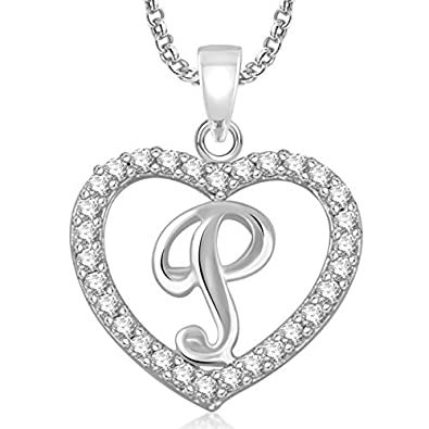 Buy Meenaz Silver Plated 'P' Letter Pendants With Chain For Unisex