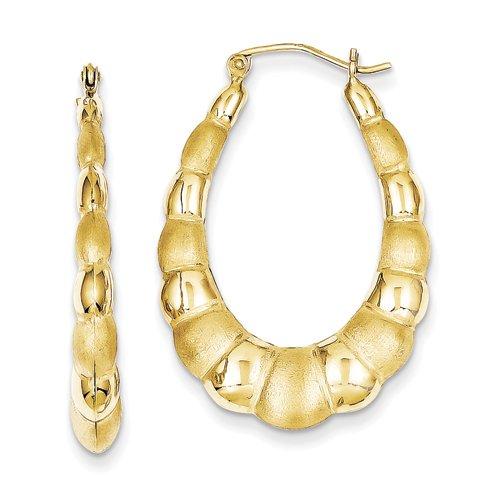 Hollow Fancy Earrings - 10k Yellow Gold Satin Hollow Fancy Earrings