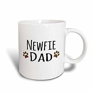 3dRose mug_153950_2 Newfie Dog Dad Newfoundland Doggie by Breed Muddy Brown Paw Prints Doggy Lover Pet Owner Love Ceramic Mug, 15-Ounce 39