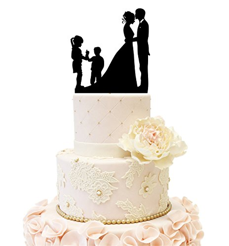 Family Silhouette - Wedding Anniversary silhouette Family Cake Topper couple with 2 kids (Girl and Boy (Black))