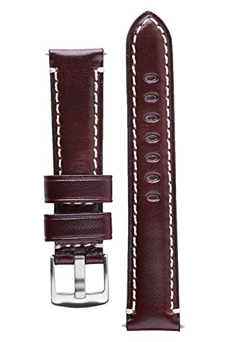 Brown Leather Hamilton (Signature Pilot Coffee 22 mm Calfskin Watch Band Calf Leather Watch Strap Replacement Bracelet)