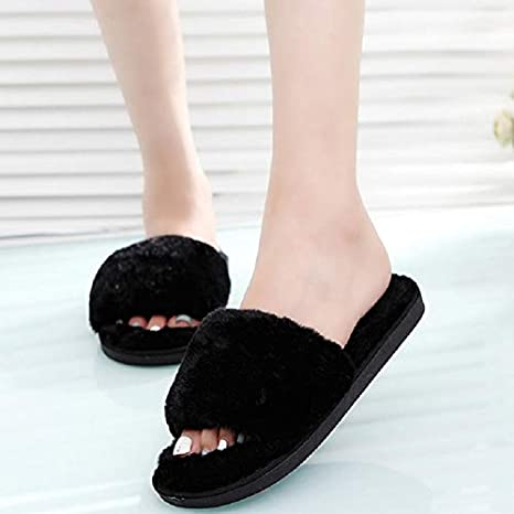Image Unavailable. Image not available for. Color  Mink Monk Women Faux Furry  Slippers Winter Female Fluffy Slides Sandals Warm Ladies Indoor Shoes Flip e26dc5c01a70