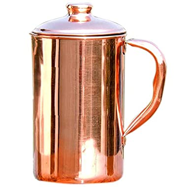 100% Copper Pitcher (54oz) - Handmade Pure Copper Water Jug - Best for Water, Ayurveda, Moscow Mule, Cocktails