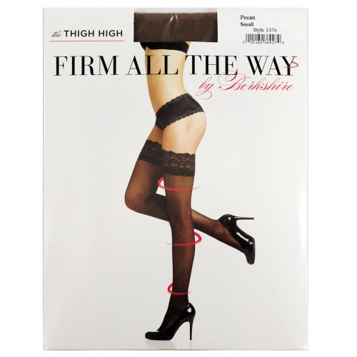 Berkshire Women's Firm All The Way The Thigh High Pantyhose 1376, Black, 1X-2X