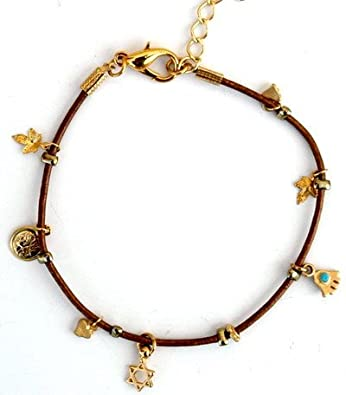 Gold Ankle Bracelet With Gold Plated Hamsa Protection Charm, Love & Good Luck Charms