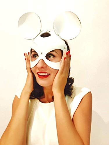 Mask Mouse in White Color, face Women mask, Leather mask, White Leather mask, Erotic mast, Halloween mask, Erotic mask, kod -