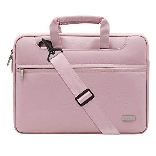 MOSISO Laptop Shoulder Bag Compatible 2018 MacBook Air 13 A1932 Retina Display/MacBook Pro 13 A1989 A1706 A1708 USB-C 2018 2017 2016/Surface Pro 6/5/4/3, Briefcase Handbag with Trolly Belt, Pink