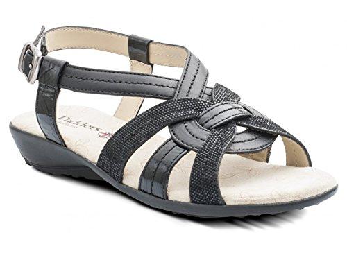 Padders - Sandalias de vestir de piel para mujer Negro negro Negro - negro