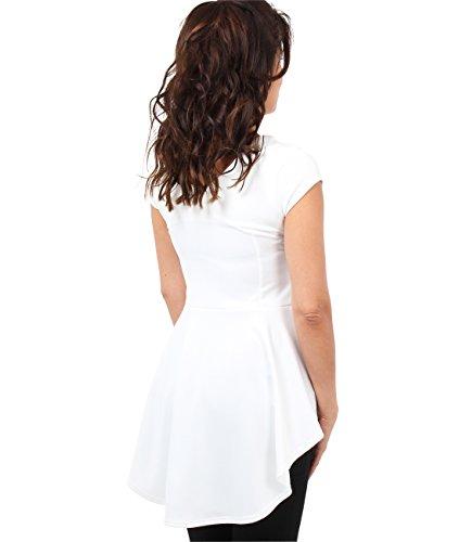 KRISP Top Mujer Fiesta Manga Corta Camiseta Básica Casual Elegante Crema (6734)