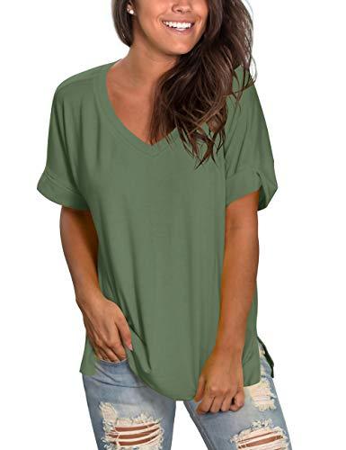 liher Women's Short Sleeve V-Neck Shirts Loose Casual Tee Shirt -