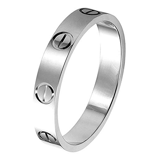 SHIRIA Love Rings Lifetime Promise with Screw Design Best Gifts for Love with Valentine's Day Promise Engagement Wedding (White Gold, 9) (Symbols That Mean Best Friends)