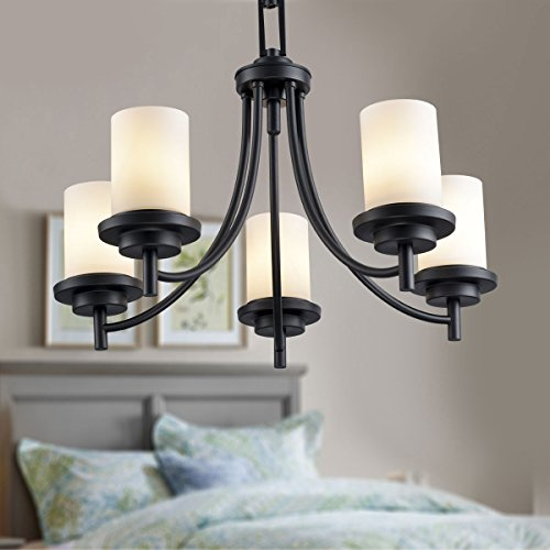 5-Light Black Wrought Iron Chandelier with Glass Shades (D-8110-5) (Shade Chandelier Iron)