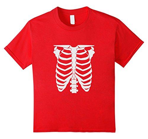[Kids Skeleton Glow In The Dark halloween t shirt 8 Red] (Glow In The Dark Skeleton Costumes)