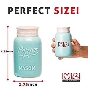 Decorative Vintage Mason Jars Salt and Pepper Shakers Large Size Adorable Blue Premium Set with Special Funnel - Kitchen Accessory Novelty - Functional and Perfect For Home Design and Dining Table Use