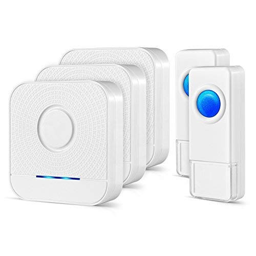 Wireless Doorbell 3 Receivers and 2 Push Buttons, IP55 Waterproof Chime Kit, 1000 Feet Operating, LED Indicator, 4 Level Volume, 52 Chimes - Bell Door Bottom