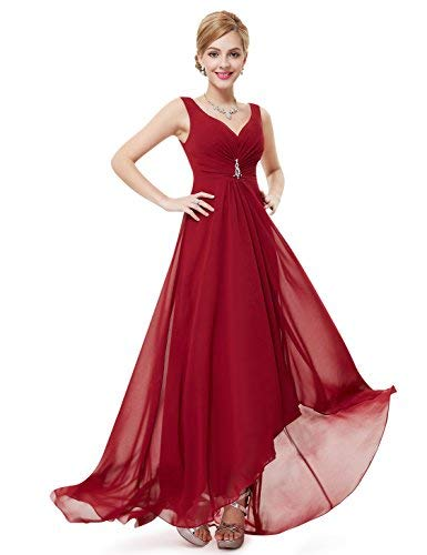 Ever-Pretty Double V-Neck Rhinestones Ruched Bust Hi-Lo Evening Party Dress  09983 at Amazon Women s Clothing store  3352911c0