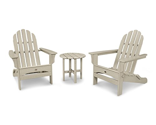 Trex Outdoor Furniture Cape Cod Folding Adirondack Set with Side Table in Sand Castle