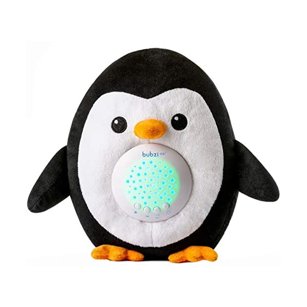 Bubzi Co Baby & Toddler White Noise Sound Machine Sleep Aid Penguin Baby Gifts – Moms Top Baby Shower Gift – Lull Babies, Toddlers & Kids Asleep Portable Baby Soother Star Projector Night Light