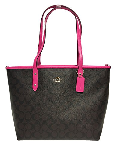 Pink Coach Purse - Coach Signature City Zip Tote Bag Handbag (IM/Brown Bright Fuchsia)