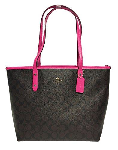 Coach Signature City Zip Tote Bag Handbag (IM/Brown Bright Fuchsia) price tips cheap