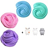 TIME4DEALS Fluffy Putty, 4-Pack Jumbo Floam Slime Kit for Kids for Stress Relief, Great for Thinking, Hand and Finger Exercises (3pcs Squishies Slow Rising Toy Included) New Version