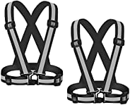 2Pack Reflective Vest, High Visibility Vest Straps Lightweight Reflector Safety Straps for Night Running, Jogg