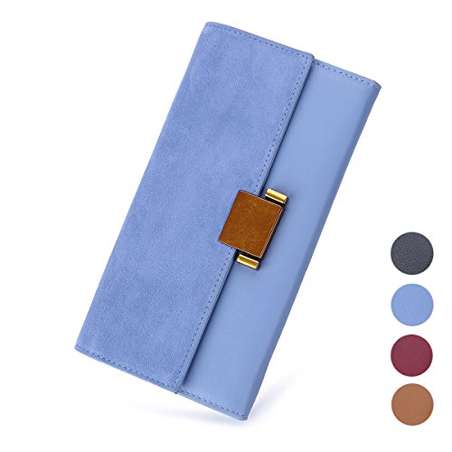 Women Luxury Genuine Leather Wallet Long Multi Card Organizer Clutch Bag (Sky Blue) ()